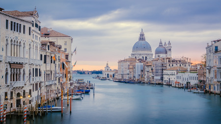 View of Grand canal and Santa Maria della Salute cathedral, crisp cold style, Venice, Italy