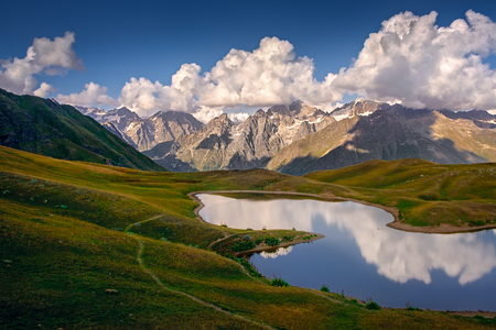 Mountain landscape view of Koruldi lakes in Svaneti national park, Country of Georgia
