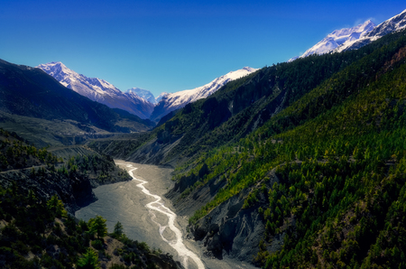 Landscape view of mountain valley and river in Himalayas, Annapurna region, Nepal