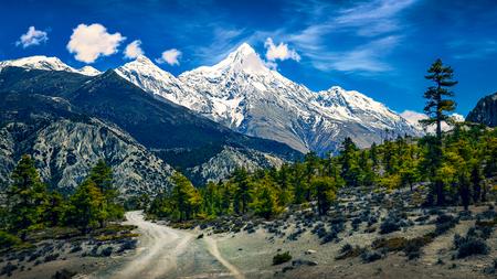 Mountains landscape view with snowed peaks and curvy road, Himalayas, Nepal, Asia Zdjęcie Seryjne