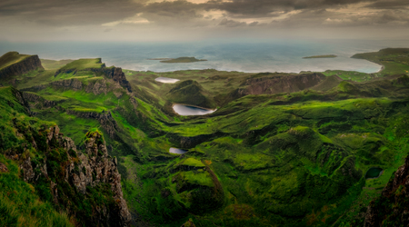 Panoramic landscape view of Quiraing coastline in Scottish highlands, Isle of Skye, Scotland, United Kingdom