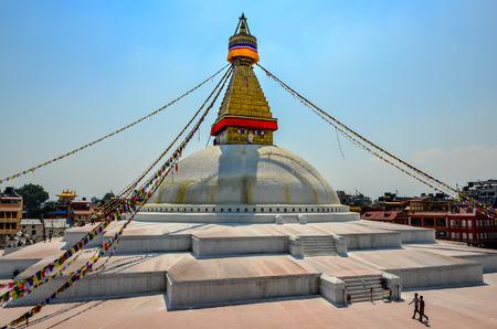 KATHMANDU, NEPAL - 18 April 2013: Buddhist temple Boudanath stupa in Kathmandu, Nepal, Asia