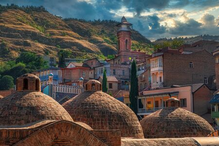 Dome structures of ancient thermal spa, old town Tbilisi, Country of Georgia