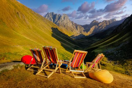Mountain landscape view with sitting chairs, relaxing concept, Country of Georgia 免版税图像 - 140358062