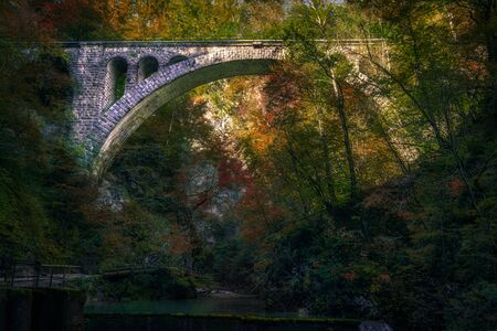 Beautiful colorful landscape view of old stone bridge and autumn foliage, Vintgar gorge, Slovenia, Europe
