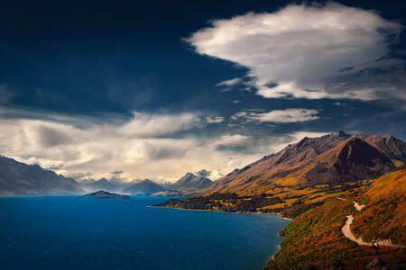 Scenic view from Bennetts bluff viewpoint, near Glenorchy, South island of New Zealand