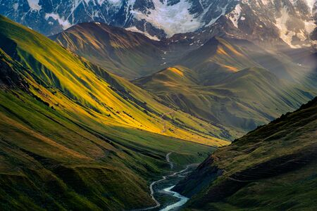 Beautiful mountain sunrise in Ushguli, Svaneti national park, Country of Georgia 免版税图像