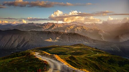 Beautiful mountain landscape view with road in foreground, Svaneti region, Country of Georgia 免版税图像