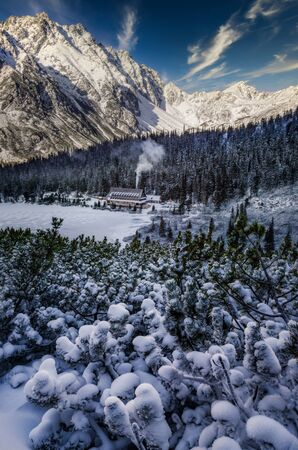 Scenic landscape view of winter mountains and cottage, High Tatras, Slovakia