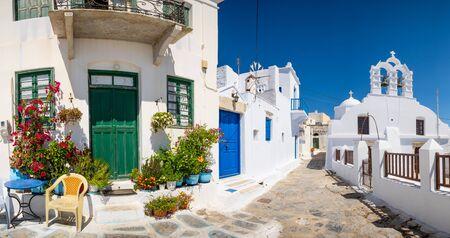Panoramic view of colorful mediterranean street, Amorgos island, Greece, Europe 免版税图像 - 143428687
