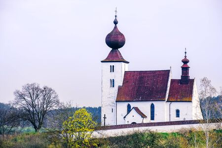 Scenic view of historical catholic church in Zehra, Slovakia, Europe 免版税图像