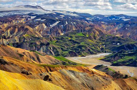 Landscape view of Landmannalaugar colorful volcanic mountains, Iceland, Europe
