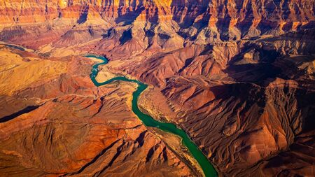 Panoramic landscape view of curved colorado river in Grand canyon, Arizona, USA