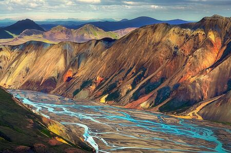 Landscape view of Landmannalaugar colorful volcanic mountains and river, Iceland, Europe 免版税图像 - 146749627