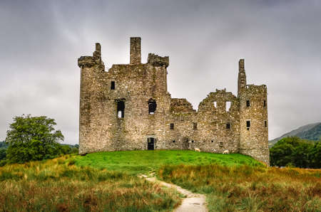 Scenic view of old medieval Kilchurn castle ruins in Scottish Highlands, United Kingdom