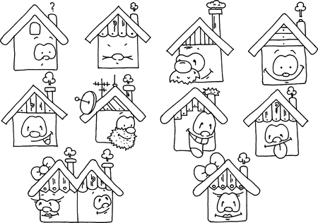 houses: Happy houses - monochromatic drawing