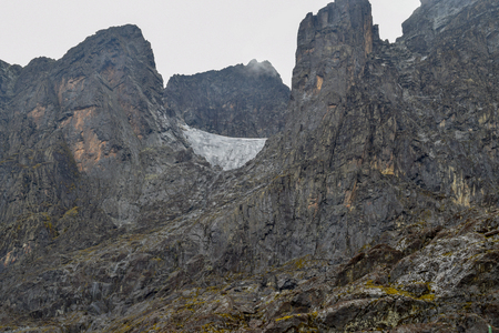 Mount Stanley, the highest mountain in the Rwenzori Mountain Ranges seen from Elena Hut, Rwenzori Mountains National Park, Uganda Stock Photo - 108172207