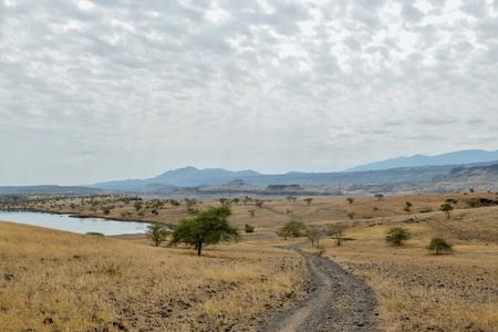 The arid landscapes of Lake Magadi, Kenya Stock Photo - 108173035