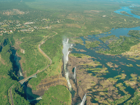 An aerial view of Victoria Falls, Zambia Stock Photo