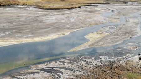 Sand deposits at Lake Magadi, Kenya Stock Photo
