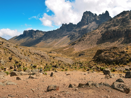 The volcanic landscapes of Mount Kenya National Park, Kenya Stock Photo