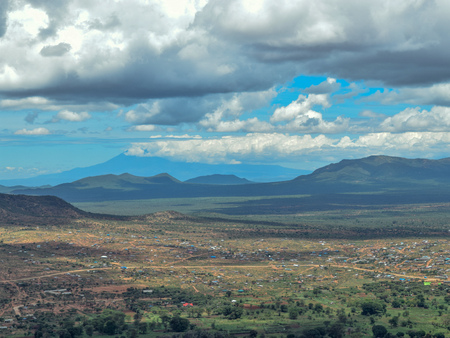 Mount Kilimanjaro seen from Namanga Town, Kenya Stock Photo