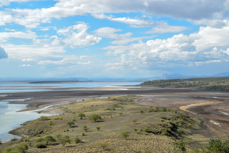 Lake Magadi against a montain background, Kenya Stock Photo
