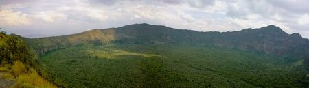 A ponoramic view of the volcanic crater on Mount Longonot, Kenya