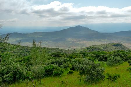 Savannah grasland against a mountain background, Oloroka Montain Range,Kenya Stock Photo
