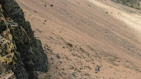 A group of hikers in the volcanic landscapes of Mount Kenya Reklamní fotografie