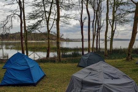 Camping along the shores of Lake Elementaita, Kenya