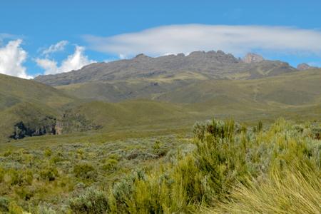 Mountain landscape against a blue sky, Mount Kenya