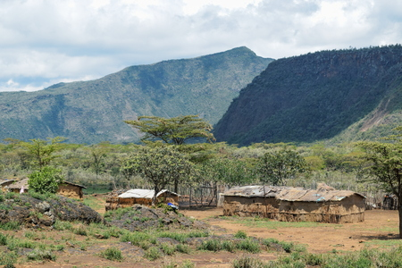 A traditional masai settlements at the foothills of Mount Suswa, Kenya Stock Photo
