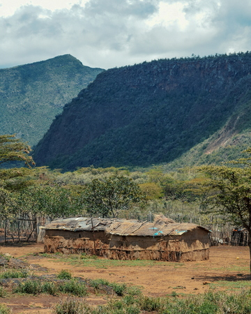 A traditional masai settlement at the foothills of Mount Suswa, Kenya Stock Photo