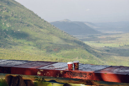 Coffee drinks against a mountain background, Rift Valley,Kenya Archivio Fotografico