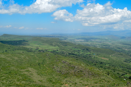 A mountain landscape against a blue sky, Aberdare Ranges, Kenya