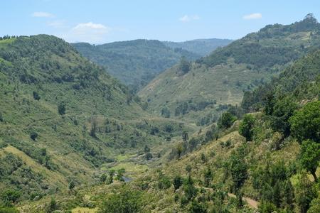 Mountain range against a blue sky, Aberdare Ranges, Kenya