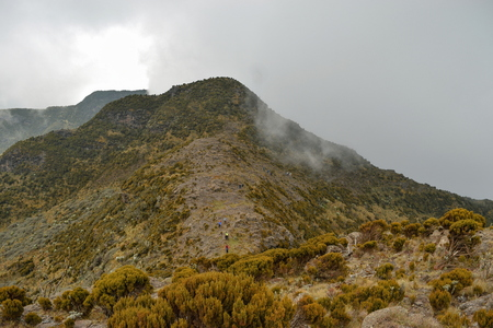 Mountain landscapes against a foggy background at the aberdare ranges on the flanks of Mount Kenya, Kenya Stok Fotoğraf