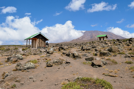 A public restroom against the background of Mount Kilimanjaro, Tanzania