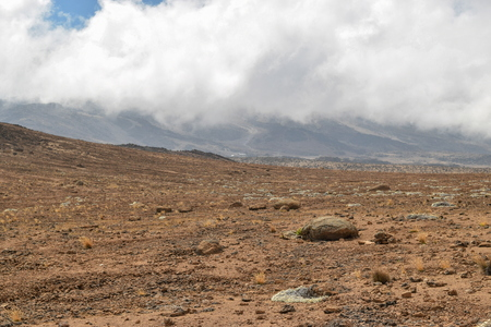 Mawenzi Peak against a cloudy sky, Mount Kilimanjaro, Tanzania
