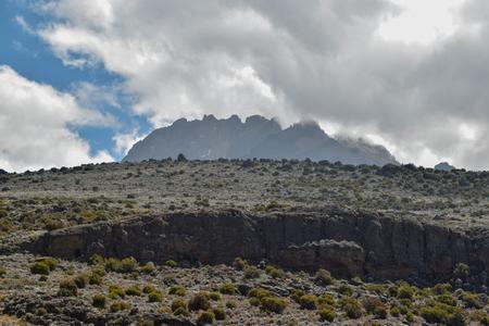 Mawenzi Peak against a cloudy sky, Mount Kilimanjaro, Tanzania