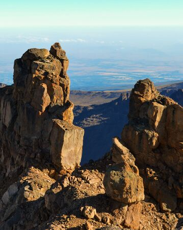 The volcanic rock formations at Mount Kenya