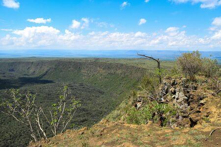 Scenic volcanic crater against sky, Mount Suswa, Kenya