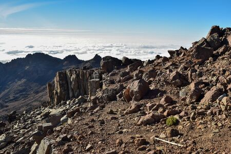 Scenic mountain landscapes above the clouds at Mount Kenya