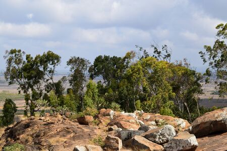Scenic arid landscapes against sky in rural Kenya
