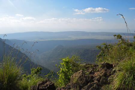 Volcanic crater against sky, Mount Suswa, Kenya