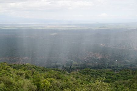 Rainstorm over the mountains, Namanga Hills, Kenya Stock Photo
