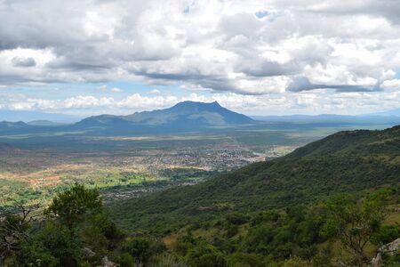 Scenic mountain landscapes against sky in rural Kenya, Namanga Hills