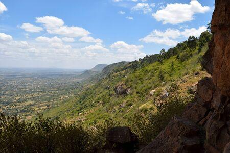 Scenic mountain landscapes against sky in rural Kenya, Makueni County