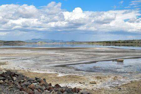 Scenic lake against arid background, Lake Magadi, Kenya Stock Photo